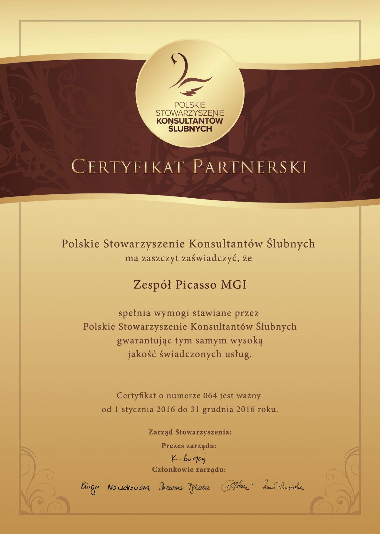 Certyfikat partnerski